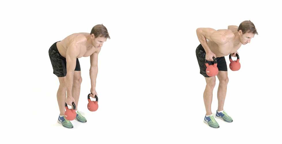 ejercicio de remo al pecho con kettelbell