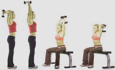 mujeres haciendo extensiones de triceps con mancuernas