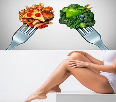arriba unos tenedores con comida sana y comida basura y abajo chica luciendo piernas