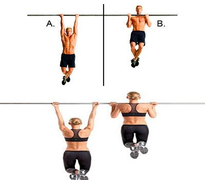 un hombre y una mujer haciendo dominadas supinas para biceps